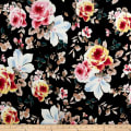 Rayon Spandex Jersey Knit Floral Pink on Black