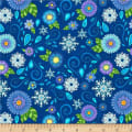 Wilmington Arctic Wonderland Flower and Snowflake Toss Dark Blue