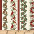 Hoffman Cardinal Carols Christmas Stripe Metallic Natural/Gold