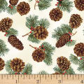 Hoffman Cardinal Carols Pinecones Metallic Natural/Gold