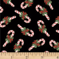 Hoffman Cardinal Carols Candy Canes Metallic Black/Gold