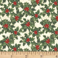 Hoffman Cardinal Carols Holly Metallic Natural/Gold