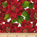 Hoffman Poinsettia Song Large Poinsettias Metallic Ivory/Gold