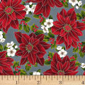 Hoffman Poinsettia Song Spaced Poinsettias Metallic Storm/Silver