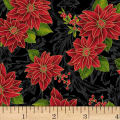Hoffman Poinsettia Song Poinsettias On Fleur Scroll Metallic Black/Gold