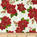 Hoffman Poinsettia Song Poinsettias On Fleur Scroll Metallic Ivory/Gold