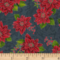 Hoffman Poinsettia Song Poinsettias On Fleur Scroll Metallic Charcoal/Silver