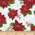 Hoffman Poinsettia Song Poinsettias On Fleur Scroll Metallic Frost/Silver