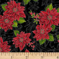 Hoffman Poinsettia Song Poinsettias On Fleur Scroll Metallic Onyx/Silver