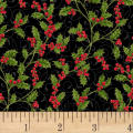 Hoffman Poinsettia Song Holly Berries Metallic Black/Gold