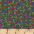 Hoffman Poinsettia Song Holly Berries Metallic Charcoal/Silver