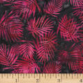 Hoffman Bali Batik Palm Leaves Raspberry