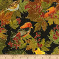 Timeless Treasures Bountiful Birds Metallic Black