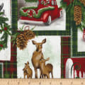 Timeless Treasures Christmas Cabin Holiday Collage Multi