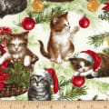Timeless Treasures Christmas Cabin Cats Cream