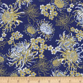 Timeless Treasures Metallic Sakura Chrysanthemums Royal