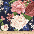 Timeless Treasures Metallic Sakura Chrysanthemums & Peonies Navy