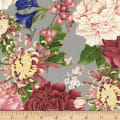 Timeless Treasures Metallic Sakura Chrysanthemums & Peonies Grey