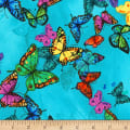 Timeless Treasures Butterfly Pavilion Floating Butterflies Blue