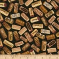 Timeless Treasures Wine Not Corks Black