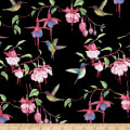 Fuchsias and Hummingbirds Black