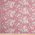 Telio Broadcloth Stripe Print Floral Embroidery White Red
