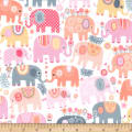 Michael Miller Minky Happy Elephants Happy Elephants Pink