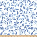 Kanvas Blue Brilliance Shimmer Leaves Metallic White