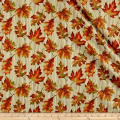 Autumn Leaves Wave Leaf Metallic Natural