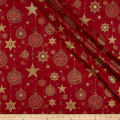 Stof Amazing Stars Ornaments & Stars Metallic Gold/Dark Red