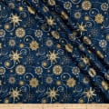 Stof Fabrics Denmark Starlight Stars & Snowflakes Metallic Gold/Royal Blue