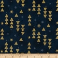 Stof Fabrics Denmark Starlight Triangles & Stars On Metallic Gold/Royal Blue