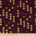Stof Fabrics Denmark Starlight Triangles & Stars On Metallic Gold/Burgundy