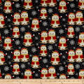 Winter Greetings Set Owls Black
