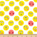 Michael Miller Funny Faces Flannel Funny Faces White