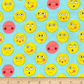 Michael Miller Funny Faces Flannel Funny Faces Aqua