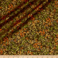 QT Fabrics Autumn Shimmer Leaf Branch Metallic Gold/Brown