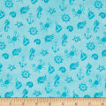 QT Fabrics Mermaid Merriment Ocean Icons Blue