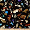 QT Fabrics Spellbound Wizard Motifs Allover Black