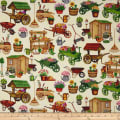 QT Fabrics A Gardening We Grow Garden Carts & Sheds Cream