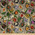 QT Fabrics A Gardening We Grow Seed Packets Green