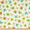 QT Fabrics All A Flutter Butterflies White