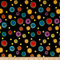 QT Fabrics Carnivale Small Tossed Flowers Black