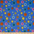 QT Fabrics Carnivale Small Tossed Flowers Light Royal