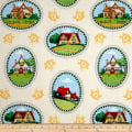 QT Fabrics Mary's Journey House Vignettes Light Yellow
