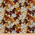 QT Fabrics Dan Morris Mustang Sunset Packed Horses Cream