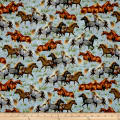 QT Fabrics Round 'Em Up Running Horses Blue