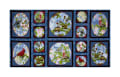 "Songs Of Nature Songbird Picture Patches 24"" Panel Dark Blue"
