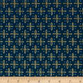 QT Fabrics Woodland Dream Star Foulard Navy