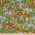 QT Fabrics  Jungle Buddies Animals & Palm Trees Cream